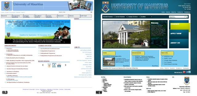 UoM Homepage Old and New